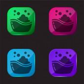 Dětská koupel vana čtyři barvy skleněné tlačítko ikona
