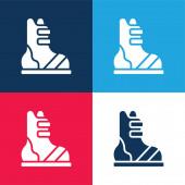 Boty modré a červené čtyři barvy minimální ikona nastavena