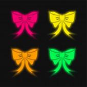 Íj négy szín izzó neon vektor ikon