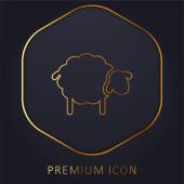 Schwarze Schafe goldene Linie Premium-Logo oder Symbol