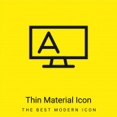 Blackboard Outline With Stand And Letter A minimal bright yellow material icon