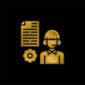 Advisor gold plated metalic icon or logo vector