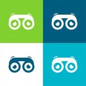 Binokuláry s očima Flat čtyři barvy minimální ikona nastavena