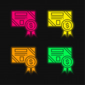 Bond four color glowing neon vector icon