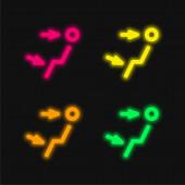 Levegő kimenet négy szín izzó neon vektor ikon