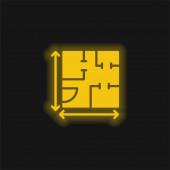 Blaupause gelb leuchtendes Neon-Symbol