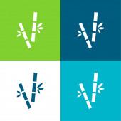 Bambusové hole Byt čtyři barvy minimální ikona nastavena