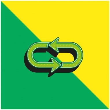 Arrow Loop Green and yellow modern 3d vector icon logo stock vector