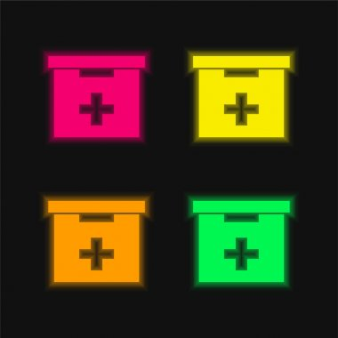 Bathroom First Aid Kit Box four color glowing neon vector icon stock vector