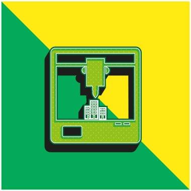 3d Printer Symbol Of Window Green and yellow modern 3d vector icon logo stock vector