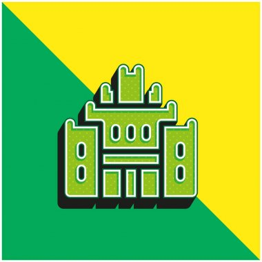 African Heritage House Green and yellow modern 3d vector icon logo