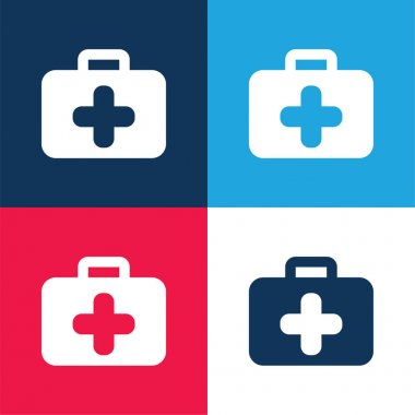 Briefcase blue and red four color minimal icon set stock vector