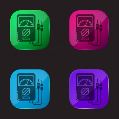 Ammeter four color glass button icon stock vector