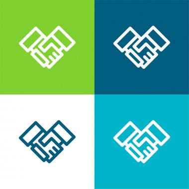 Agreement Flat four color minimal icon set stock vector