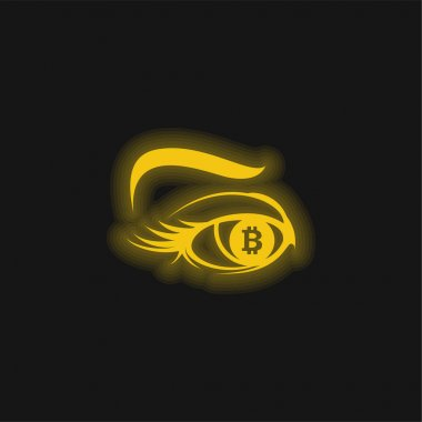 Bitcoin Sign In Eye Iris yellow glowing neon icon stock vector