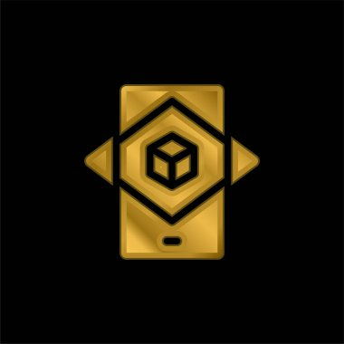 Augmented Reality gold plated metalic icon or logo vector stock vector