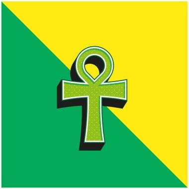 Ankh Green ve sarı modern 3d vektör simgesi logosu