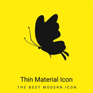 Beautiful Butterfly Silhouette minimal bright yellow material icon stock vector