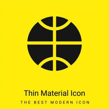 Basketball Ball minimal bright yellow material icon stock vector
