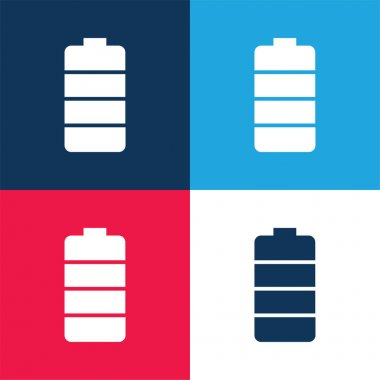 Battery blue and red four color minimal icon set stock vector