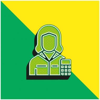 Muhasebeci Yeşil ve Sarı Modern 3D vektör simgesi logosu