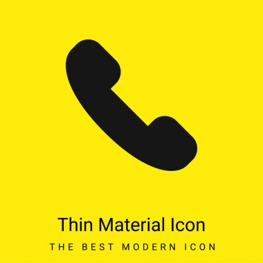 Answer Call minimal bright yellow material icon stock vector