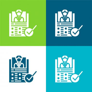 Appraisal Form Flat four color minimal icon set stock vector