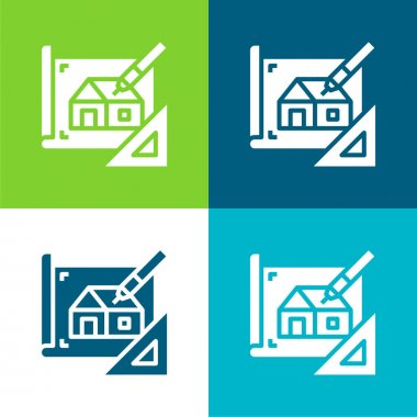 Blueprint Flat four color minimal icon set stock vector