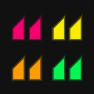 Blocks With Angled Cuts four color glowing neon vector icon