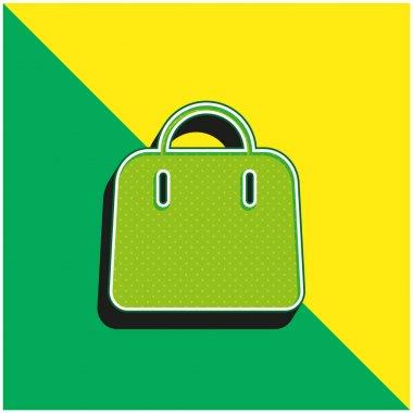 Big Hand Bag Green and yellow modern 3d vector icon logo