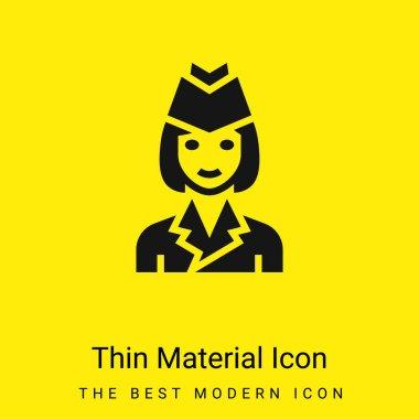 Air Hostess minimal bright yellow material icon stock vector