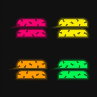 Biscotti four color glowing neon vector icon stock vector