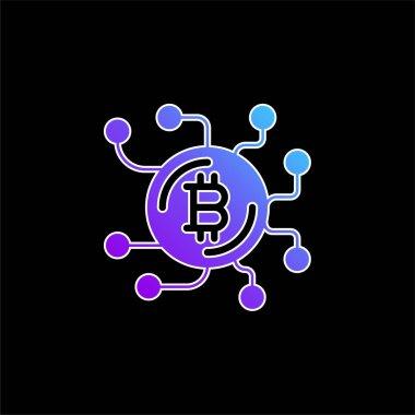 Bitcoin blue gradient vector icon stock vector