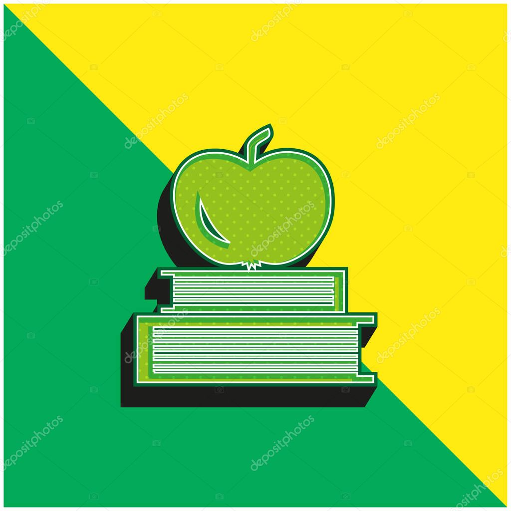 Books And Apple On Top Green and yellow modern 3d vector icon logo stock vector