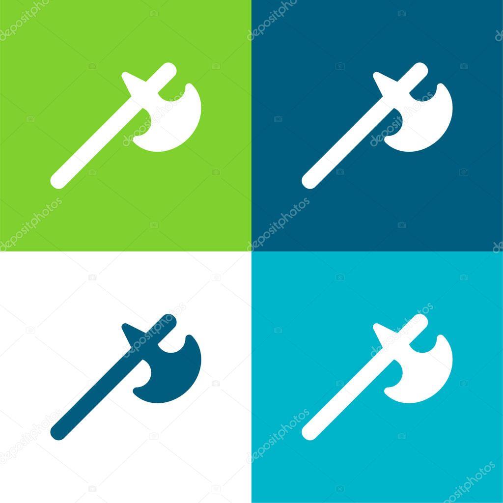 Battle Axe Flat four color minimal icon set stock vector