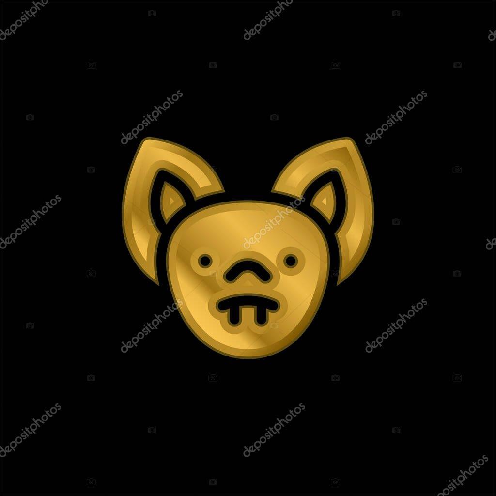 Bat gold plated metalic icon or logo vector stock vector