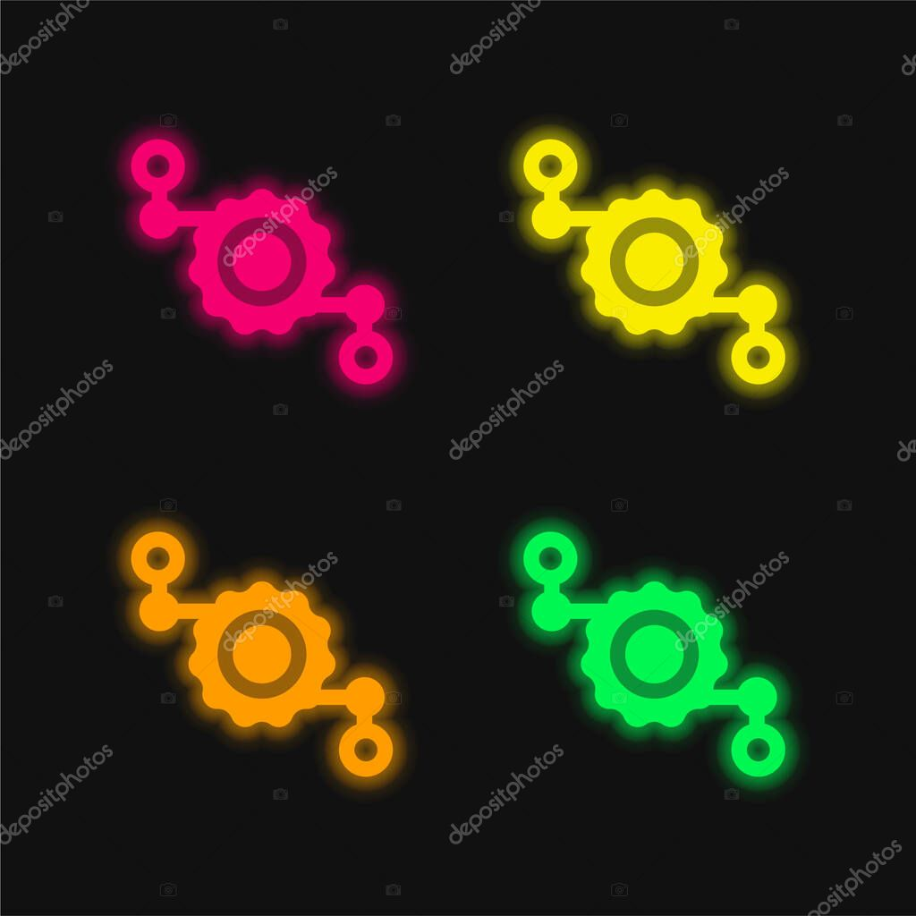 Assembly four color glowing neon vector icon stock vector