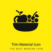 Jablko a hrozny na misce minimální jasně žlutý materiál ikona