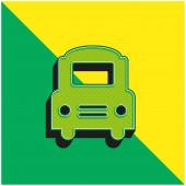Big Bus Frontal Zelená a žlutá moderní 3D vektorové logo ikony