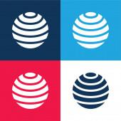 Ball blau und rot vier Farben minimales Symbol-Set