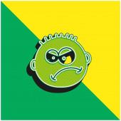Angry Green a žluté moderní 3D vektorové logo