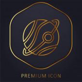 Astronomie zlaté linie prémie logo nebo ikona