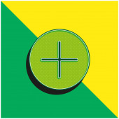 Sčítací tlačítko Zelené a žluté moderní 3D vektorové logo