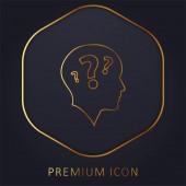 Boční pohled na holou hlavu se třemi otazníky prémiové logo nebo ikona