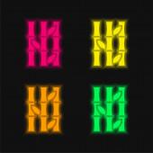Bambus vier Farben leuchtenden Neon-Vektor-Symbol