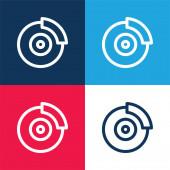 Féktárcsa kék és piros négy szín minimális ikon készlet
