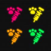 Állati vakcinázás négy színű izzó neon vektor ikon