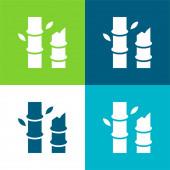 Bambusový byt čtyři barvy minimální ikona nastavena