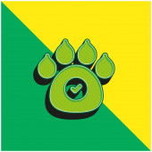 Animals Allowed Green and yellow modern 3d vector icon logo