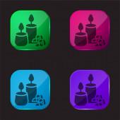 Aromatická svíčka čtyři barvy skleněné tlačítko ikona